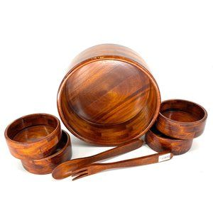 Acacia Wood Salad Bowl Serving Set